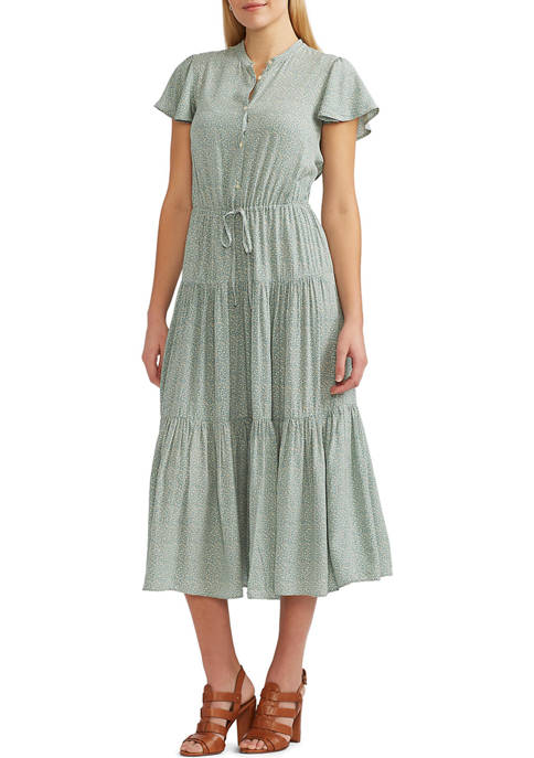 Chaps Womens Tiered Flutter Sleeve Dress