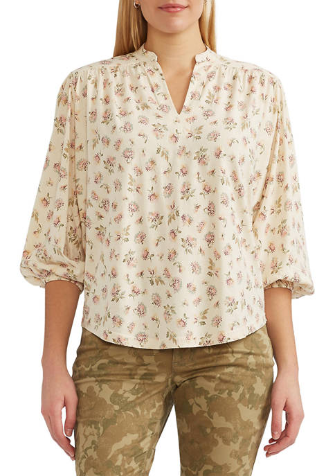 Chaps Womens Shirred Cotton Blend Top