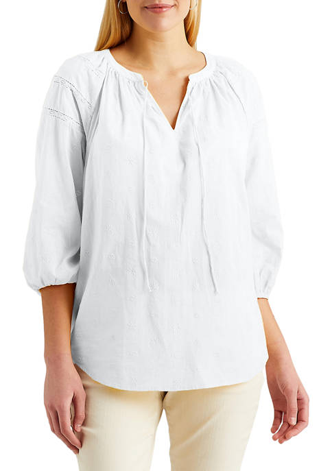 Chaps Womens Lightweight Cotton Peasant Top