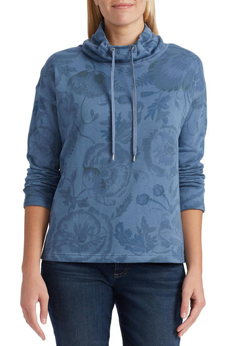 Chaps Womens Cotton Funnel Neck Pullover
