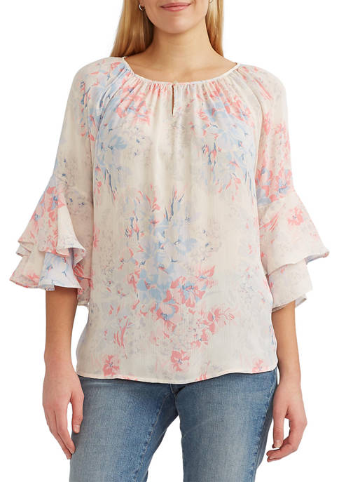 Chaps Womens Printed Georgette Top