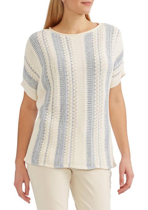 Chaps Womens Short Sleeve Sweater