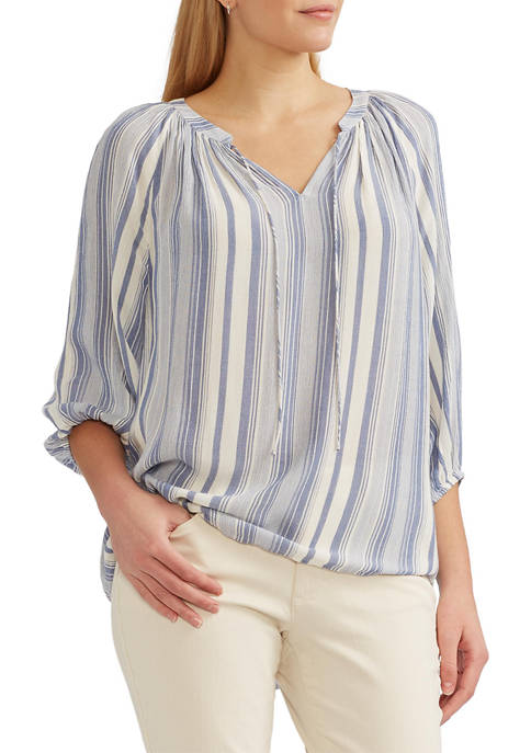Chaps Crinkle 3/4 Sleeve Blouse