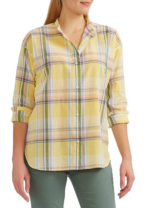 Chaps Womens Cotton Voile Button Front Shirt