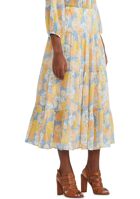 Chaps Tiered Cotton Crinkle Midi Skirt