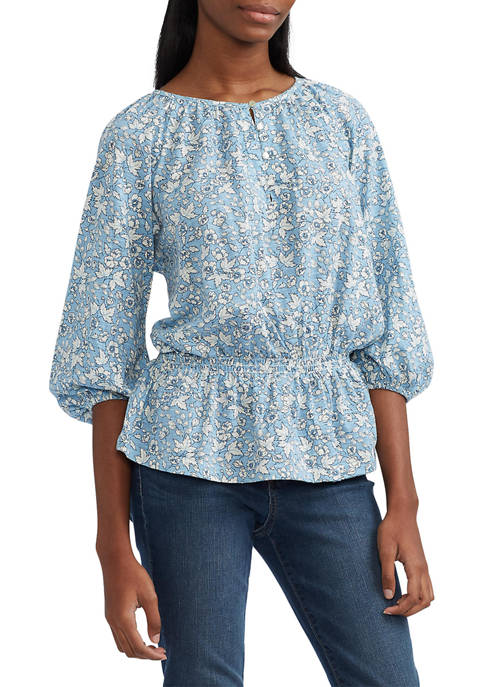 Chaps Womens Printed Rayon Floral Top
