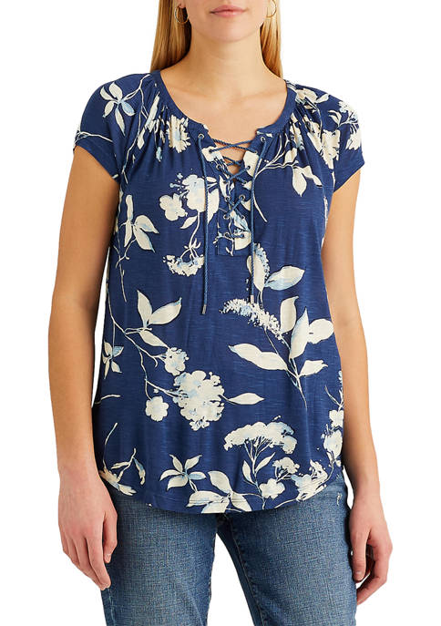 Chaps Womens Short Sleeve Knit Peasant Top
