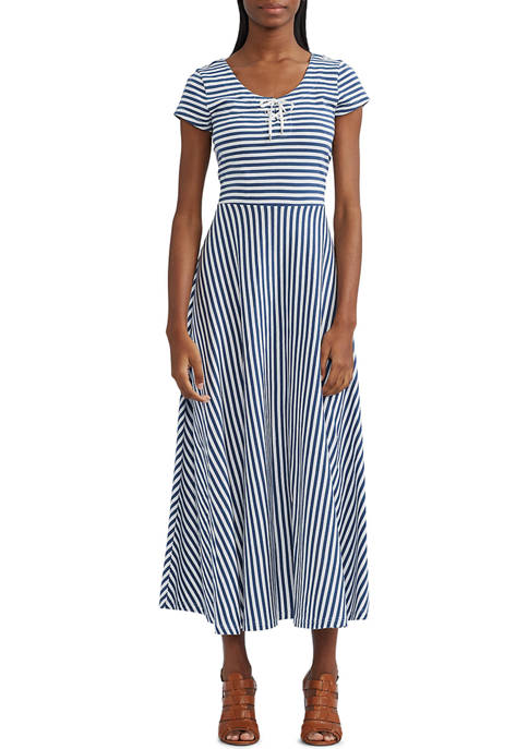 Chaps Womens Striped Fit and Flare Day Dress