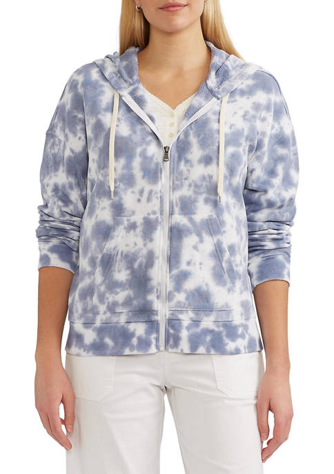 Chaps Womens Malibu French Terry Tie Dye Hoodie