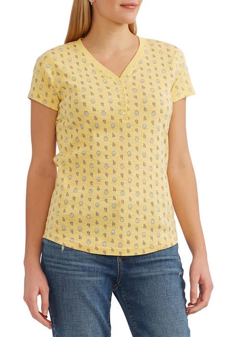 Chaps Cotton Slub Short Sleeve Henley Shirt