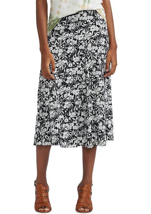 Chaps Lightweight Cotton Midi A-Line Skirt
