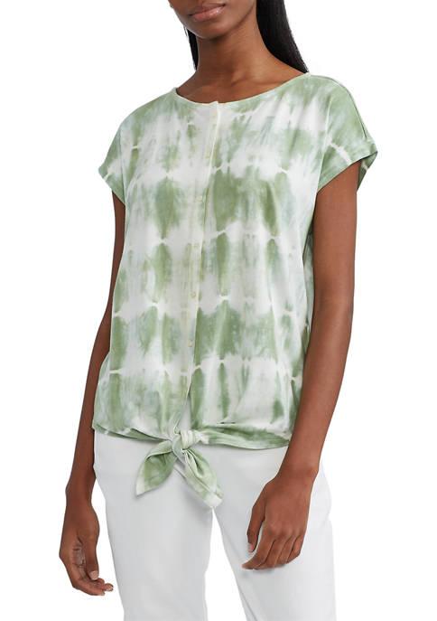 Chaps Womens Tie-front Cotton-Blend Top