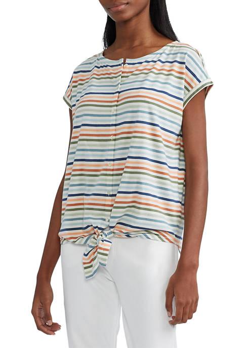 Chaps Womens Tie Front Cotton Blend Top