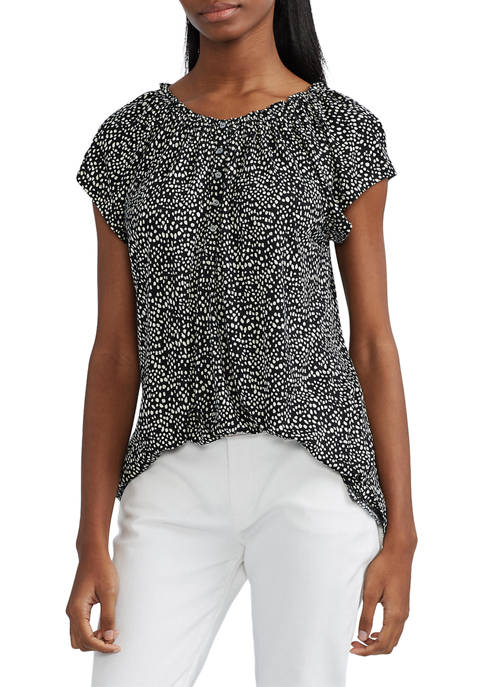 Chaps Womens Short Sleeve Dotted Top