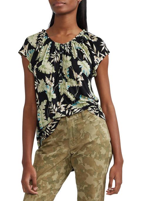 Chaps Womens Short Flutter Sleeve Floral Top