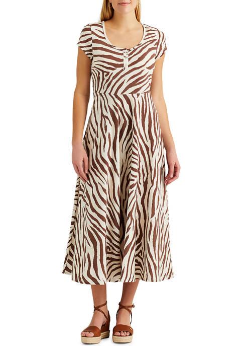 Chaps Womens Zebra Print Midi Sundress