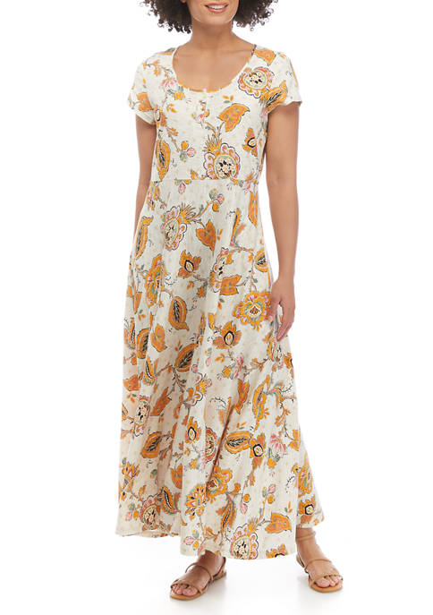 Chaps Womens Short Sleeve Floral Dress