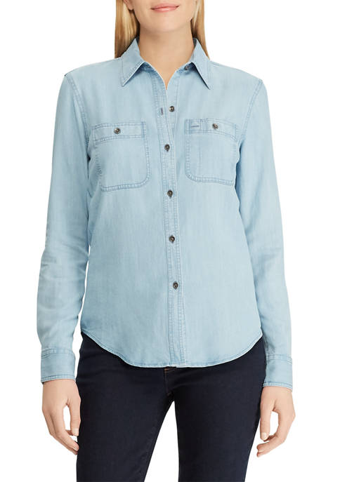 Chaps Petite Denim Button Down Shirt