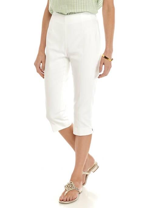 Chaps Petite Audrey Solid Double Cloth Capris