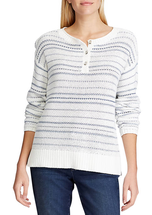 Chaps Petite Striped Cotton Blend Sweater