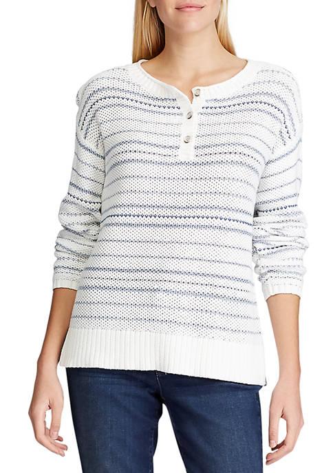 Chaps Petite Striped Cotton Blend Sweater