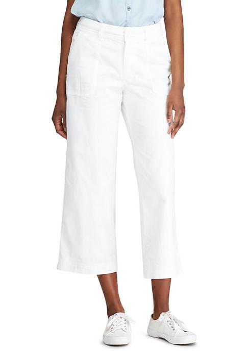 Chaps Petite Stretch Cotton Twill Wide Leg Alternative