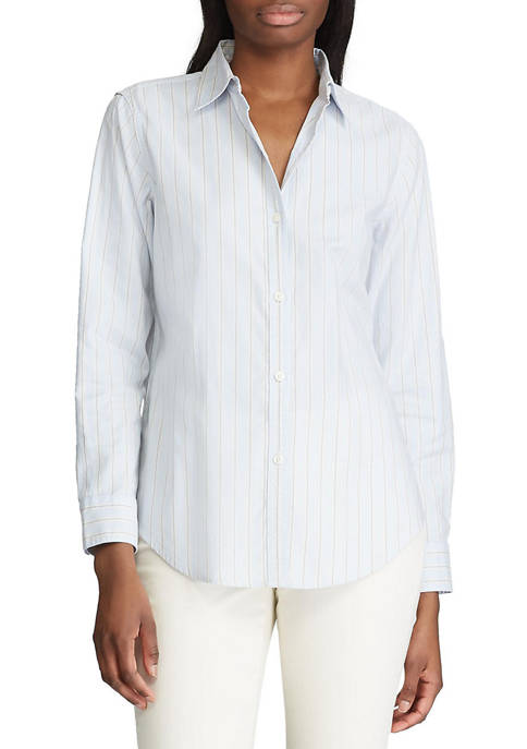Chaps Petite Striped Cotton Shirt