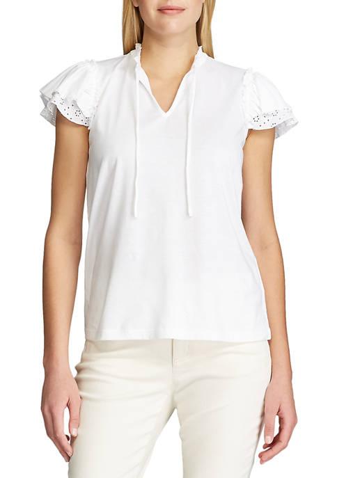 Chaps Petite Flutter Sleeve Jersey Top