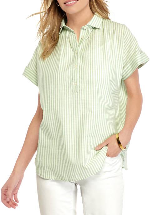 Chaps Petite Slub Stripe Button Shirt
