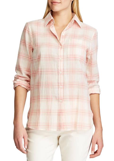 Chaps Petite Long Sleeve Tommi Plaid Cotton Shirt