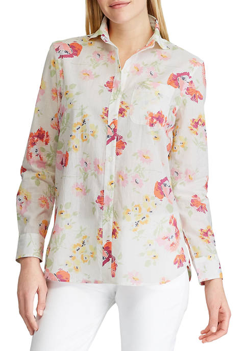 Petite Long Sleeve Tommi Floral Cotton Dobby Shirt