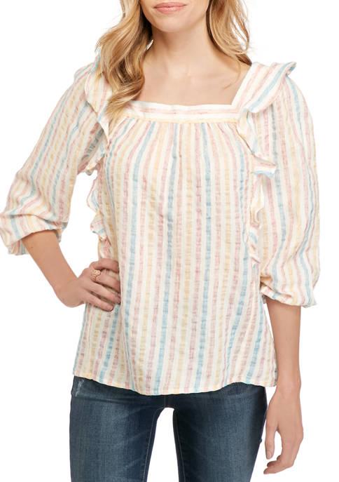 Chaps Petite 3/4 Sleeve Beach Stripe Linen Blouse