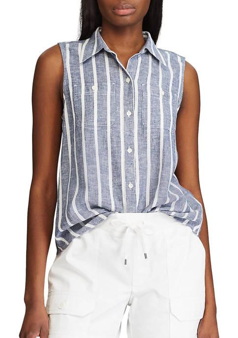 Chaps Petite Sleeveless Button Down Shirt
