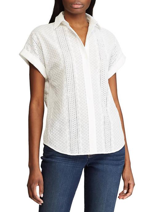 Chaps Petite Short Sleeve Eyelet Button Down Shirt