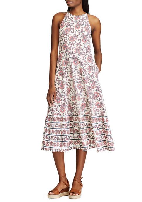 Chaps Petite Printed Halter Midi Dress