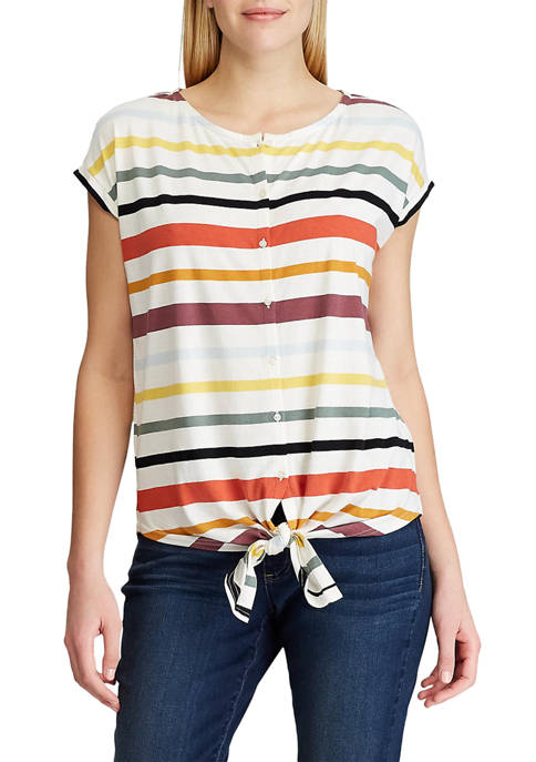 Chaps Petite Short Sleeve Tie Front Knit Top