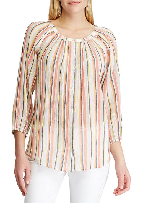 Chaps Petite 3/4 Sleeve Stripe Cotton Crinkle Blouse
