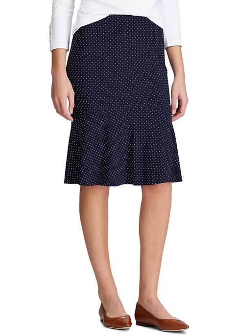 Chaps Petite Dot Print Jersey Skirt