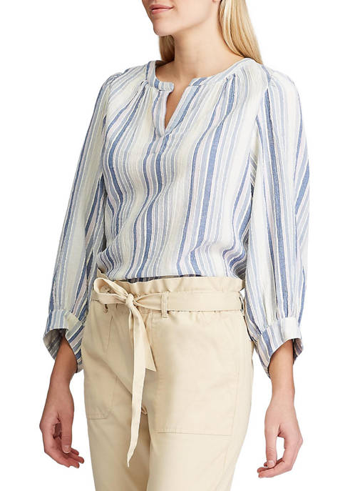 Chaps Petite Striped Dobby Top