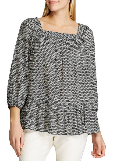 Chaps Petite Cotton Crinkle 3/4 Sleeve Blouse
