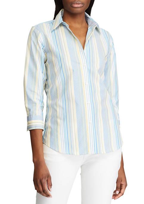 Petite No Iron 3/4 Sleeve Button Down Shirt