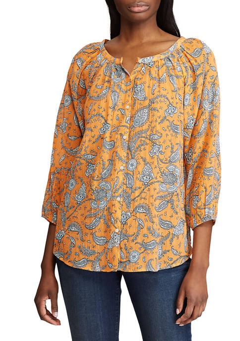 Chaps Petite 3/4 Sleeve Printed Cotton Top