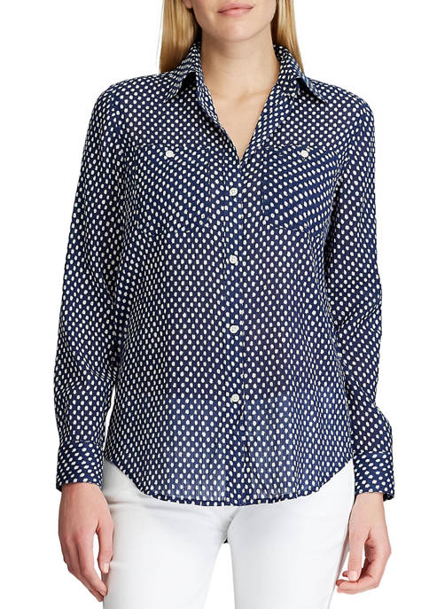 Chaps Petite Cotton Linen Button Down Shirt