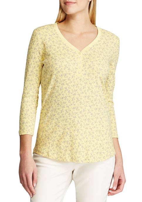 Chaps Petite 3/4 Sleeve Cotton Henley Shirt