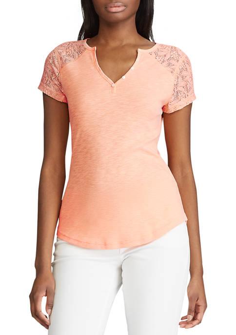 Petite Short Sleeve Cotton Henley T-Shirt