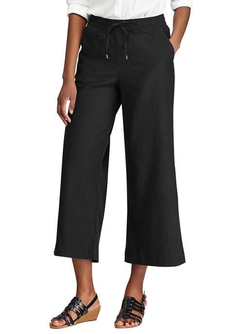 Chaps Petite Linen Straight Leg Pants