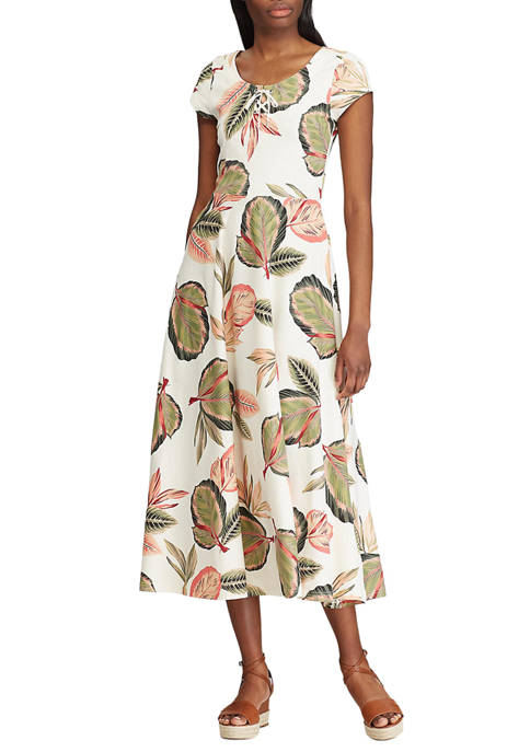 Chaps Petite Printed Fit and Flare Dress