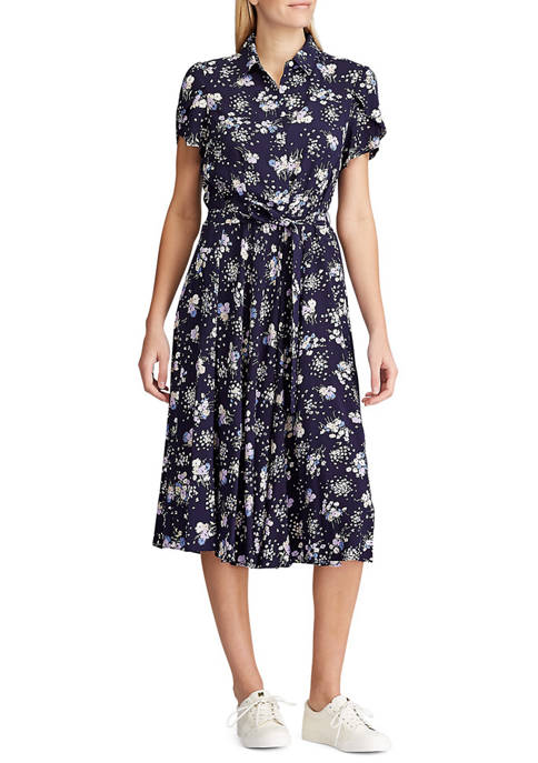 Chaps Petite Print Fit and Flare Dress