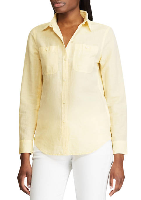 Chaps Petite Utility Pocket Linen Shirt