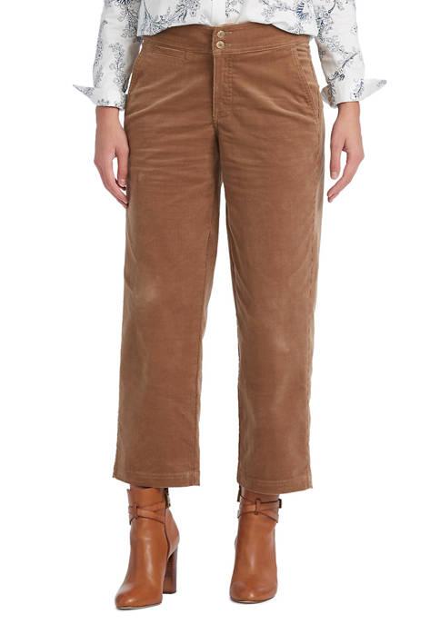 Chaps Petite Cropped Corduroy Wide-Leg Pants